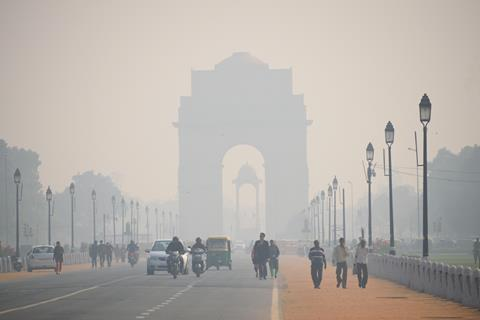 Delhi, India - November 21, 2017: India gate covered in heavy smog.
